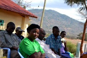 Members from the different farmers groups listening to information being shared