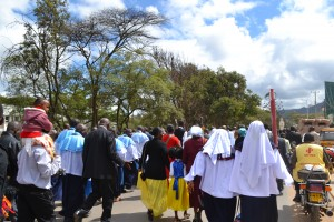 The congregants marching to Machakos stadium for the celebrations