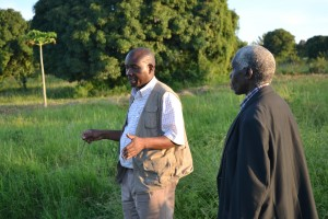 Bishop Samwel Kitula showing Rev. Nicta some of the projects in Mwanza