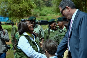 The Cabinet Secretary Ministry of Environment and Natural resources Professor Judi Wakhungu and Ambassador of Israel to Kenya, HE Yahel Vilan during the tree planting in Lari.