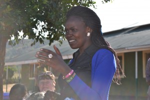 Principal Naibei talking to the girls.